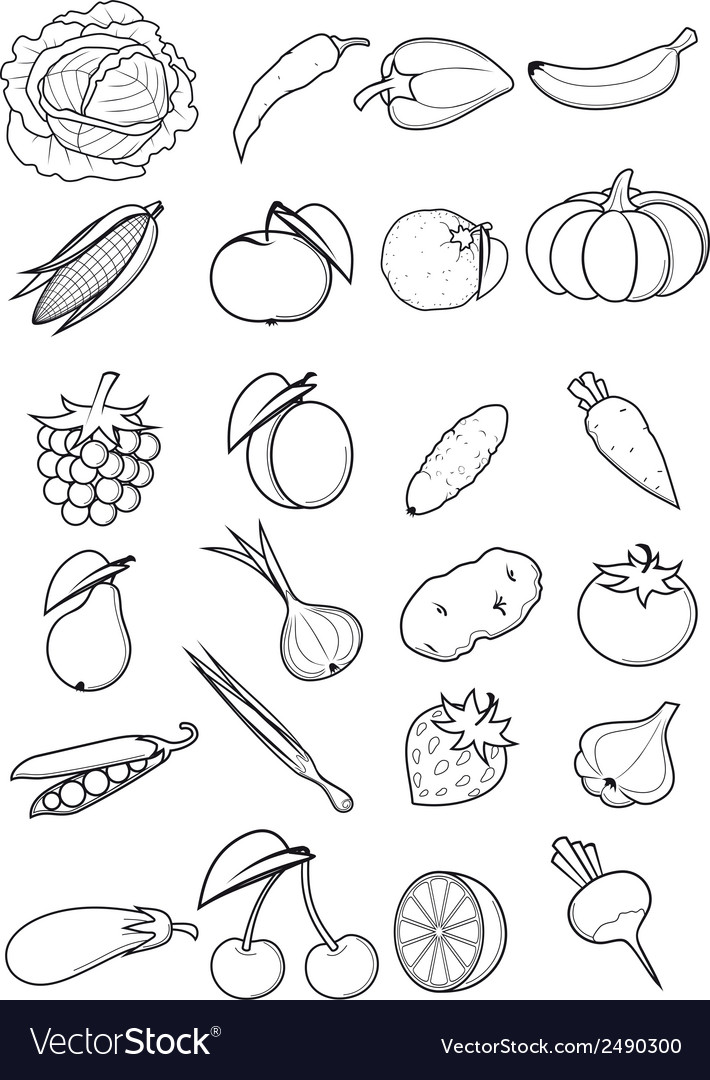 Set of fruits and vegetables vector | Price: 1 Credit (USD $1)