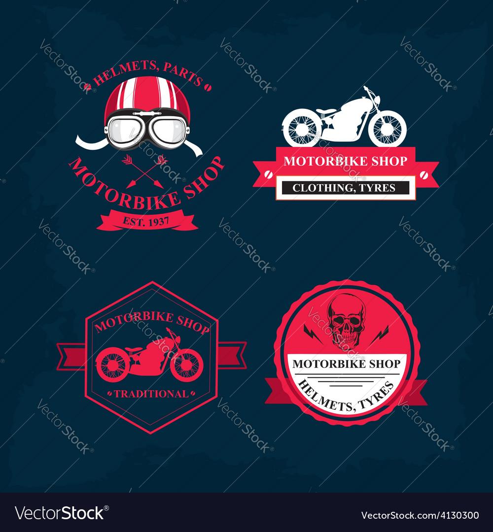 Set of labels motorbike shop vector | Price: 1 Credit (USD $1)