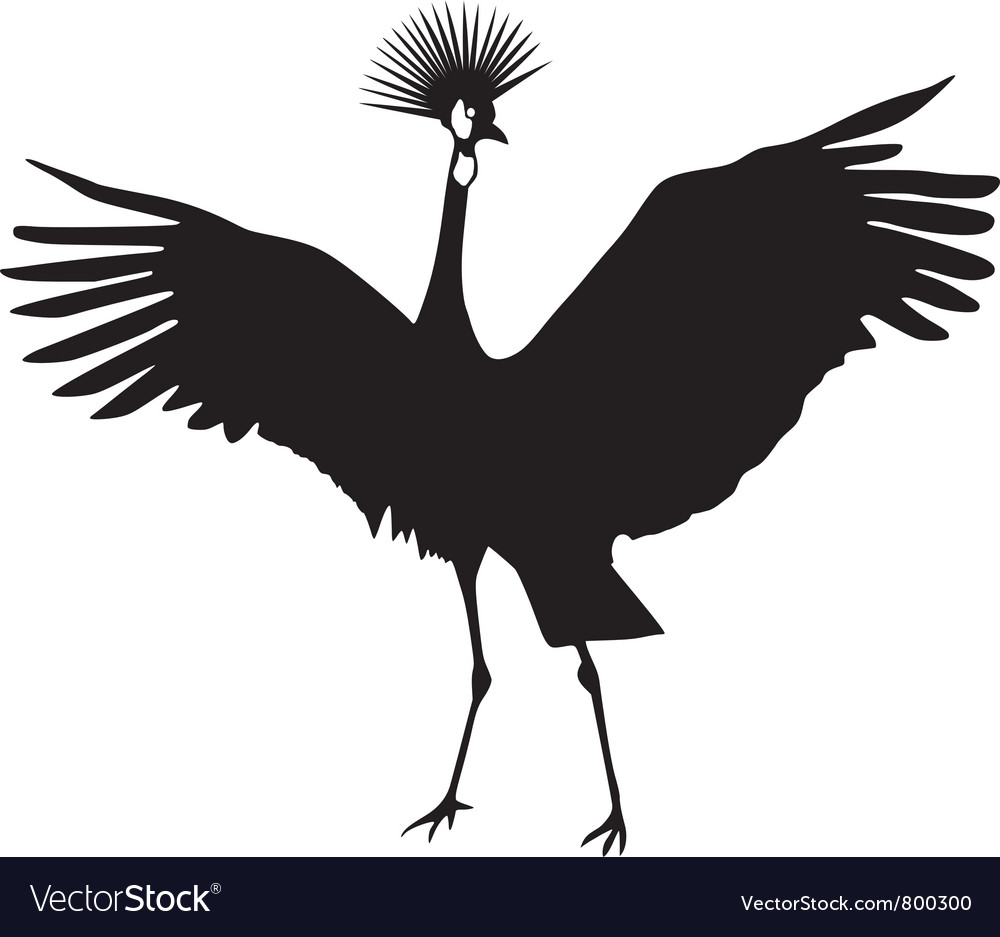 Silhouette of african crowned crane vector | Price: 1 Credit (USD $1)