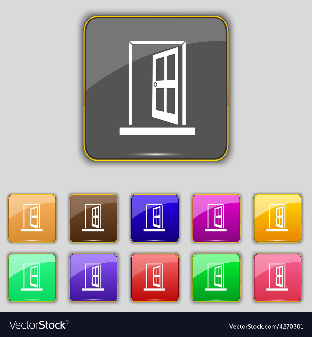 Door enter or exit icon sign set with eleven vector | Price: 1 Credit (USD $1)
