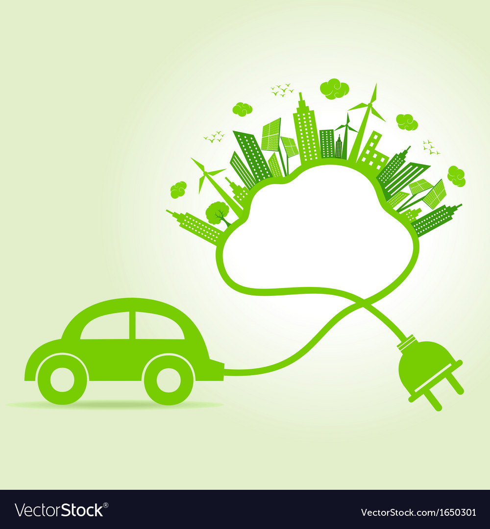 Ecology concept with eco car and cloud vector | Price: 1 Credit (USD $1)