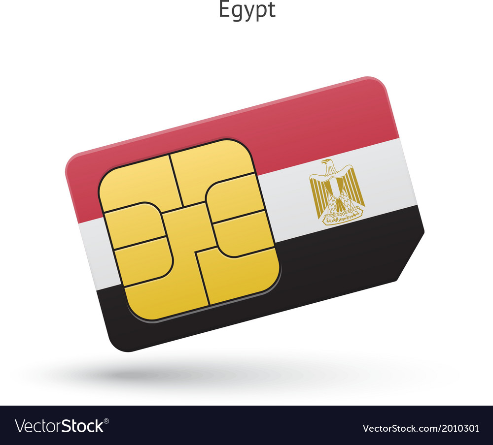 Egypt mobile phone sim card with flag vector | Price: 1 Credit (USD $1)
