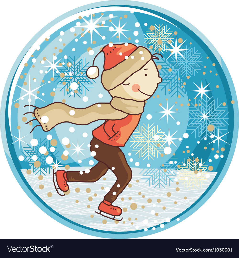 Ice skating kid snow globe vector | Price: 1 Credit (USD $1)
