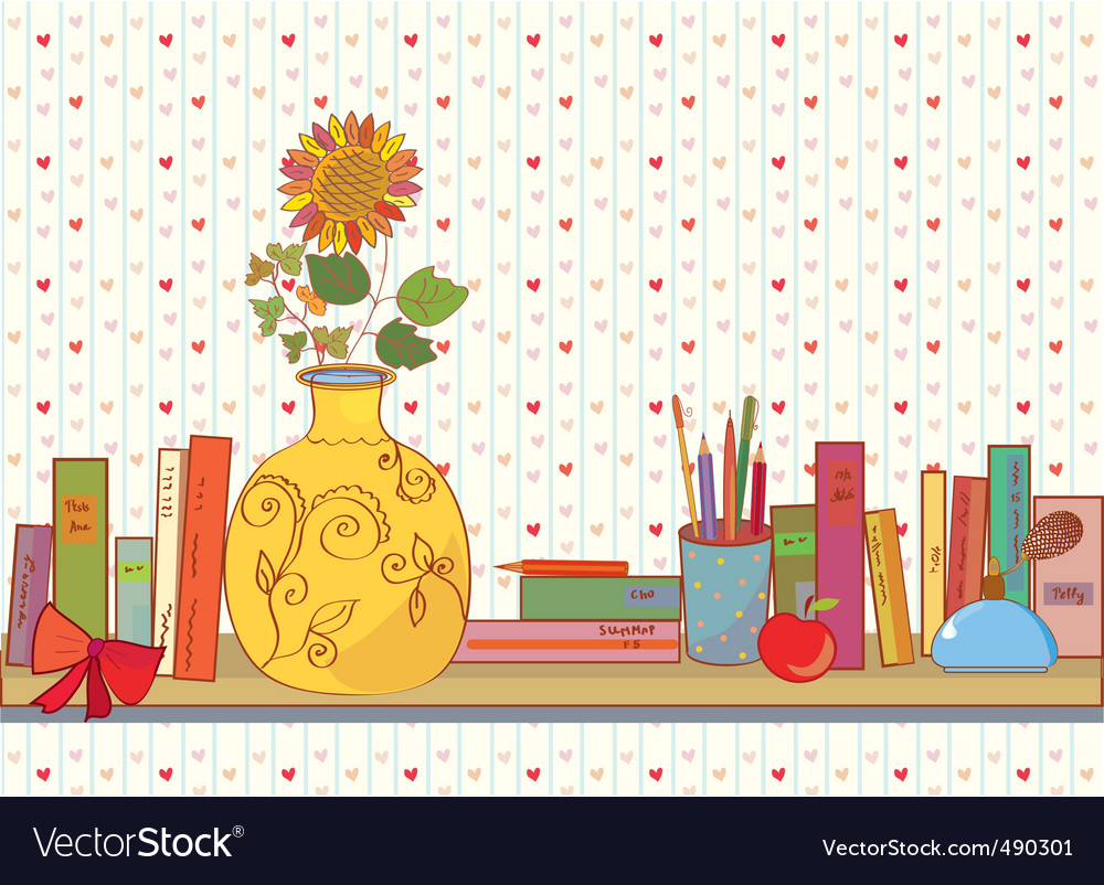 Shelf books vector | Price: 1 Credit (USD $1)