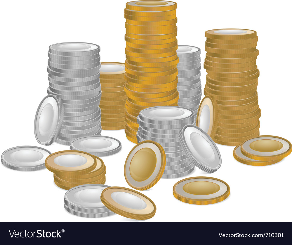 Stack of gold and silver coins vector | Price: 1 Credit (USD $1)