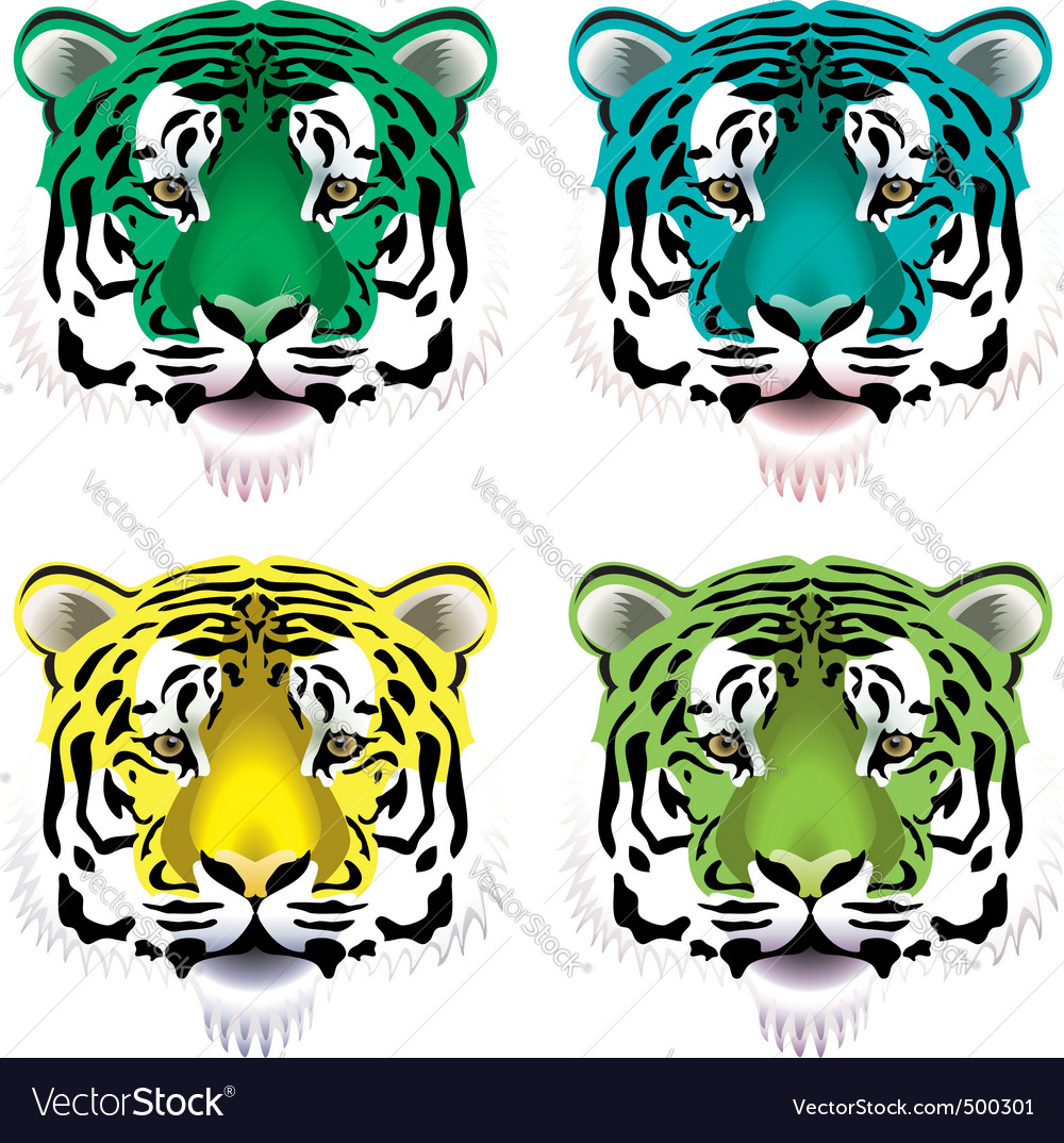 Tiger heads vector | Price: 1 Credit (USD $1)