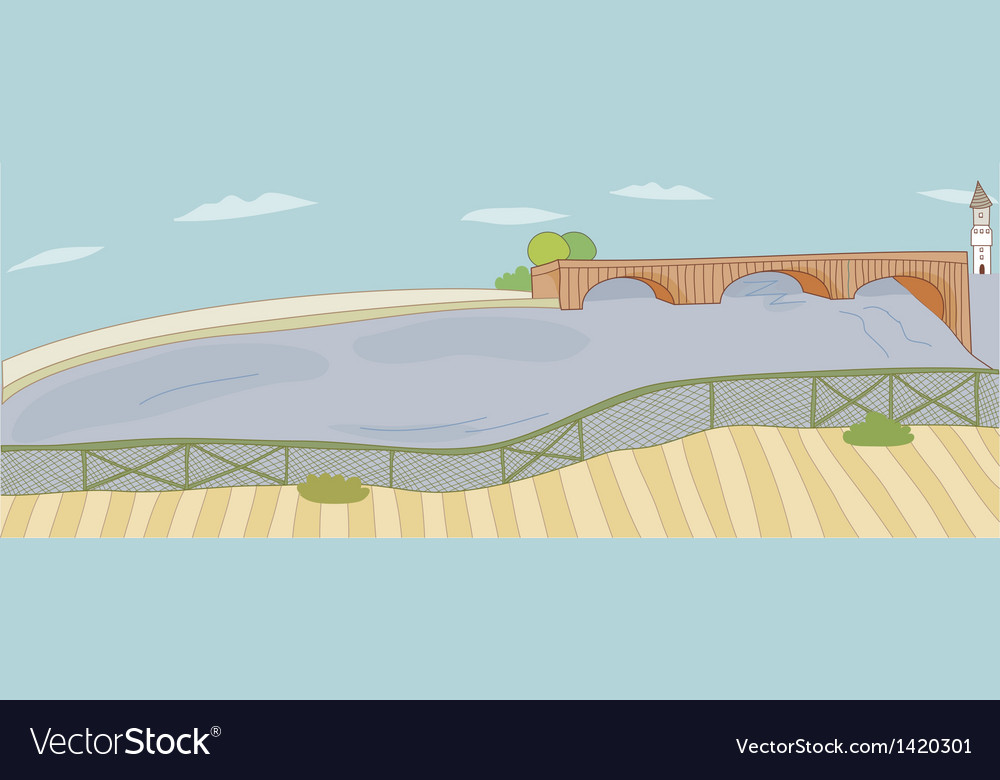 Town bridge background vector | Price: 1 Credit (USD $1)