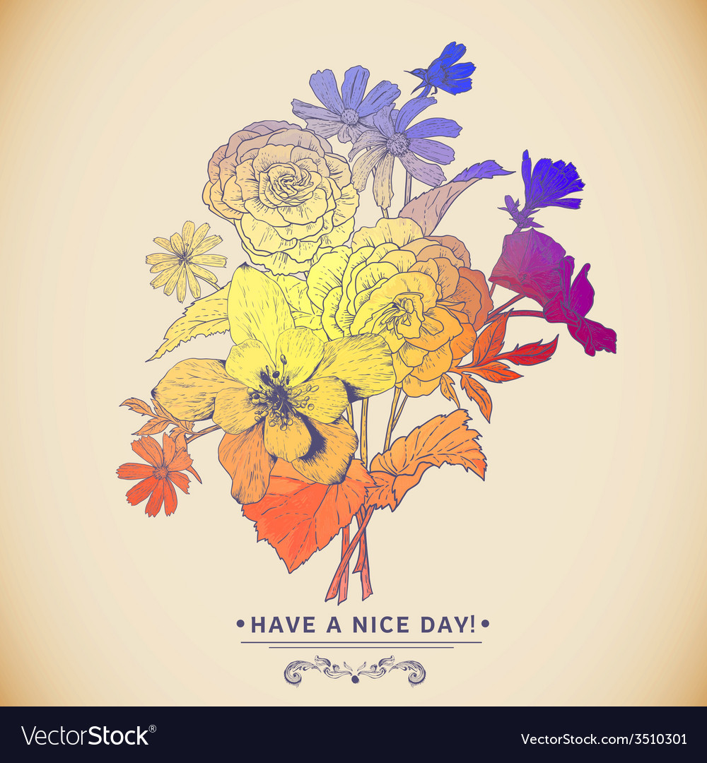 Vintage colorful floral bouquet greeting card vector | Price: 1 Credit (USD $1)