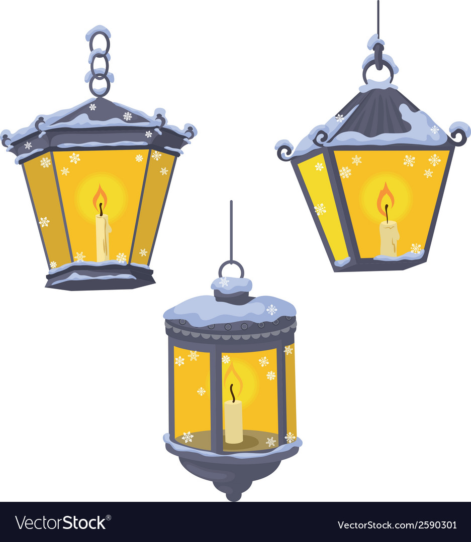 Vintage street lanterns in the snow vector | Price: 1 Credit (USD $1)