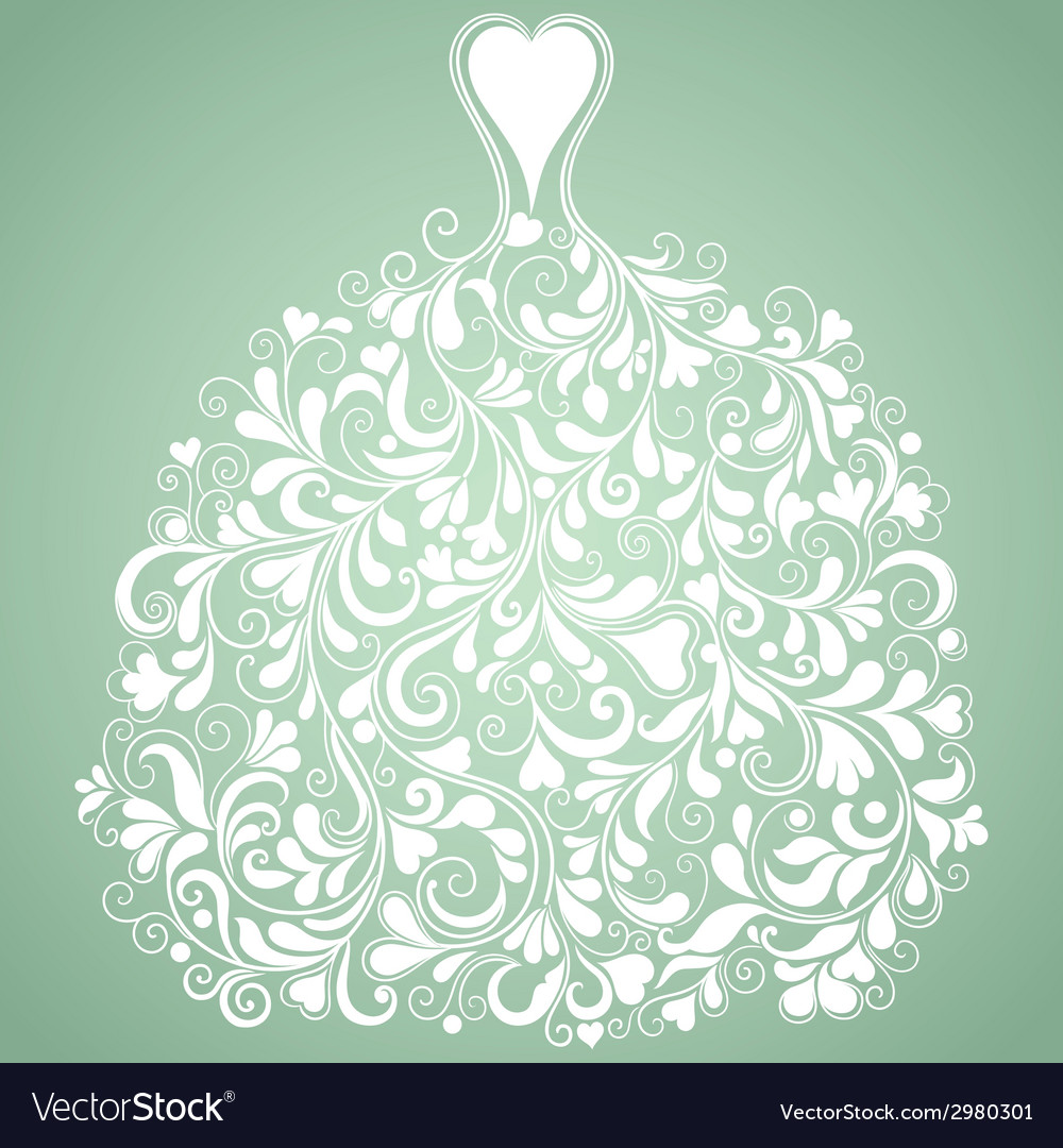 White wedding dress vintage silhouette vector | Price: 1 Credit (USD $1)