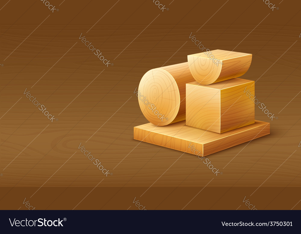 Woodworks wooden workpieces vector