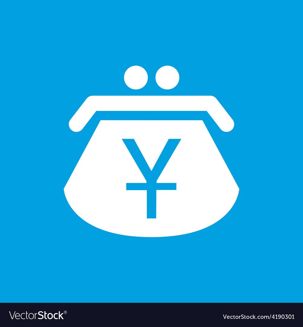 Yen purse white icon vector | Price: 1 Credit (USD $1)