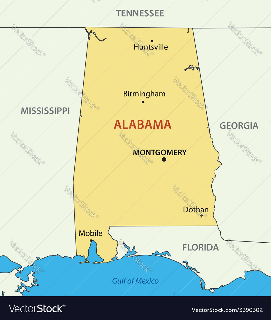 Alabama - map vector | Price: 1 Credit (USD $1)