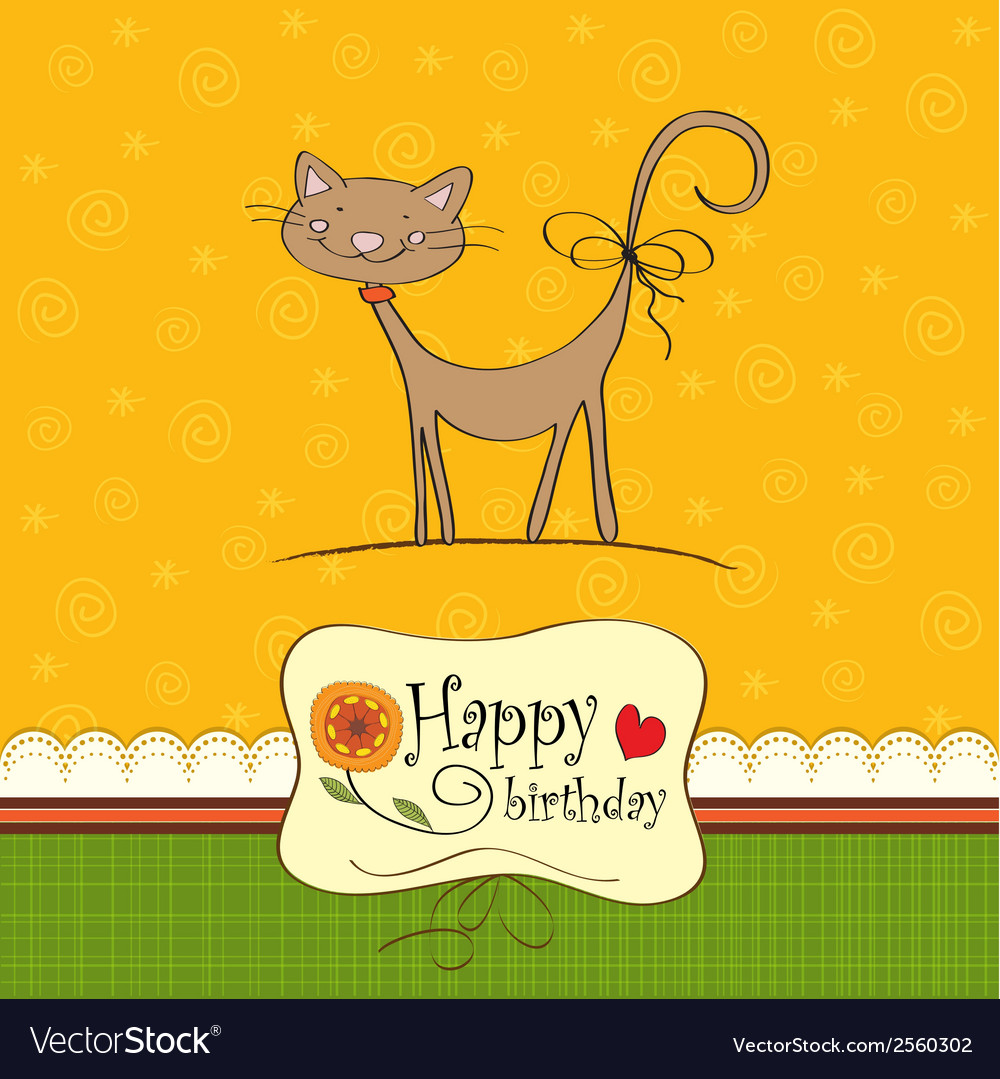 Birthday card with funny cat vector | Price: 1 Credit (USD $1)