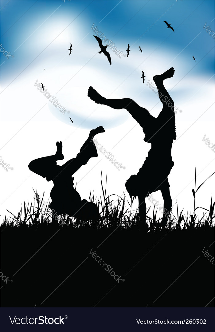 Boys playing on summer field vector | Price: 1 Credit (USD $1)