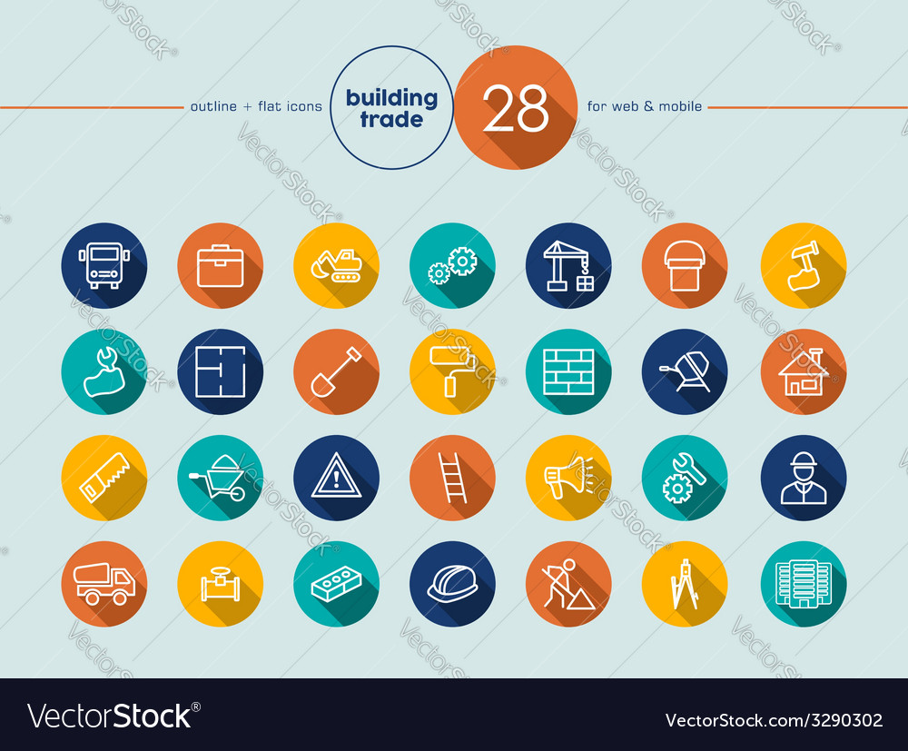 Building trade flat icons set vector | Price: 1 Credit (USD $1)