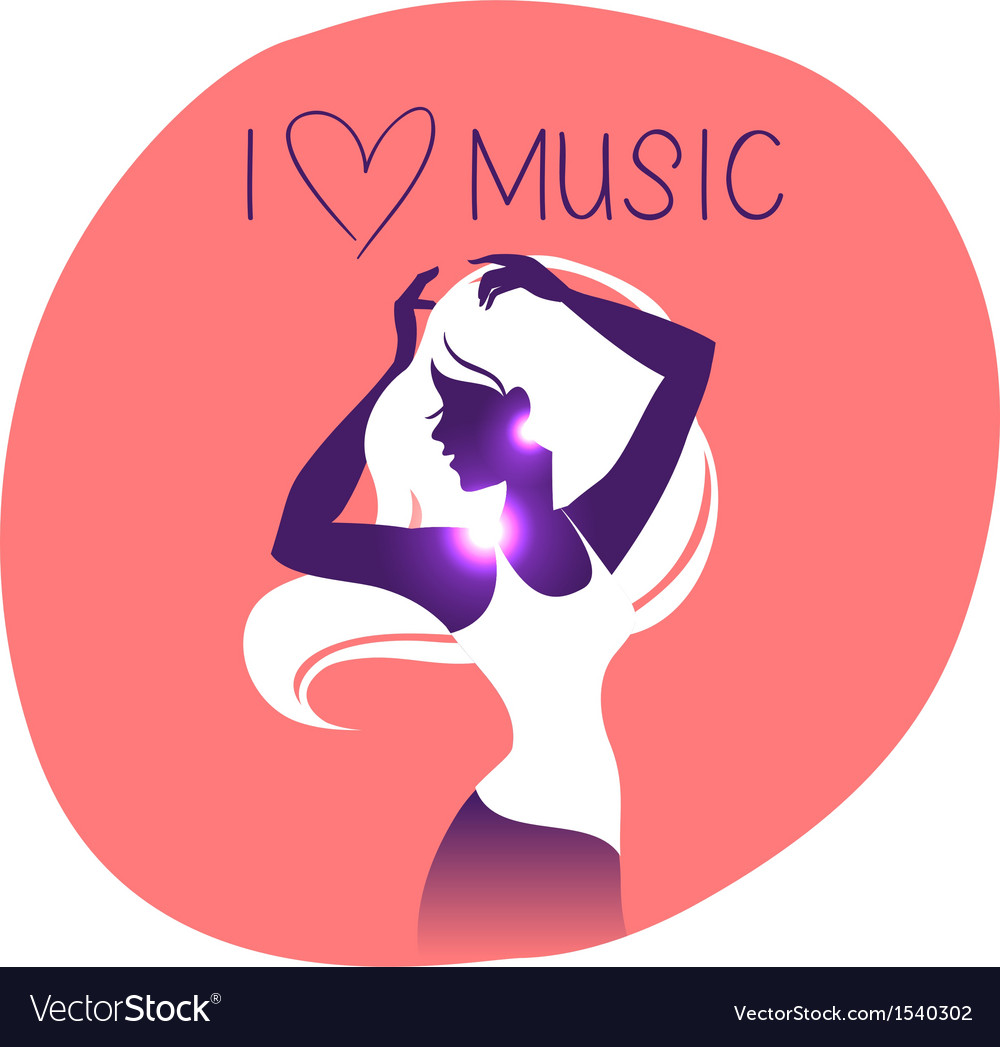 Dance music girl silhouette vector | Price: 1 Credit (USD $1)