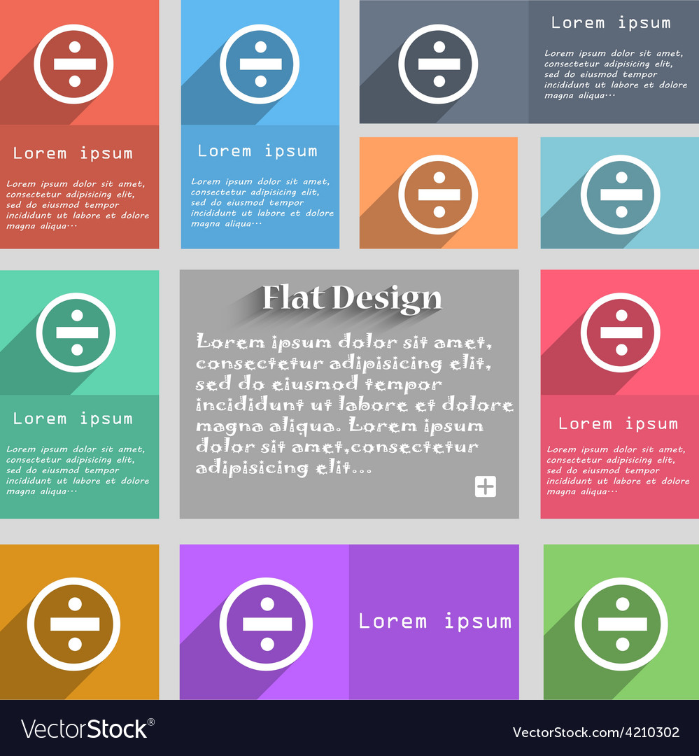 Dividing icon sign set of multicolored buttons vector | Price: 1 Credit (USD $1)