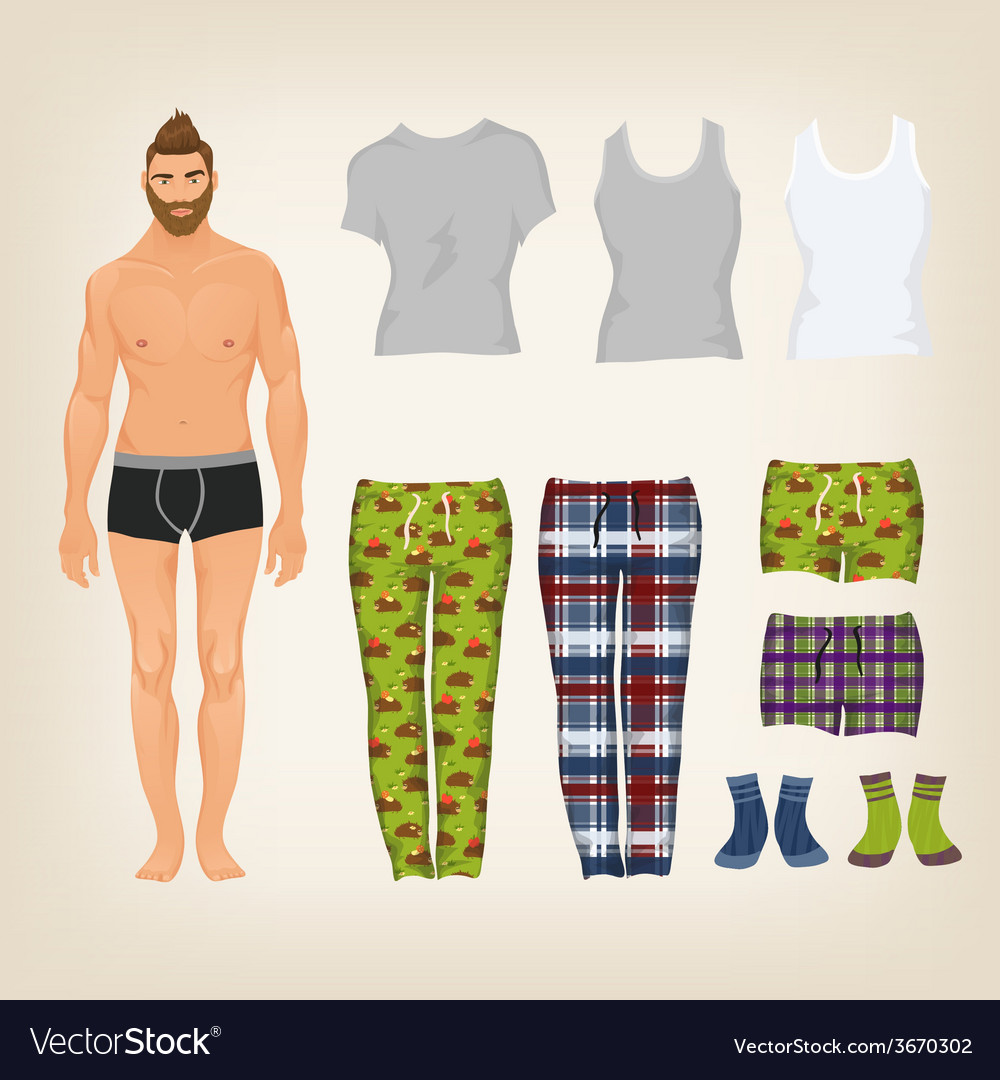 Dress up male paper doll with an assortment of vector | Price: 1 Credit (USD $1)