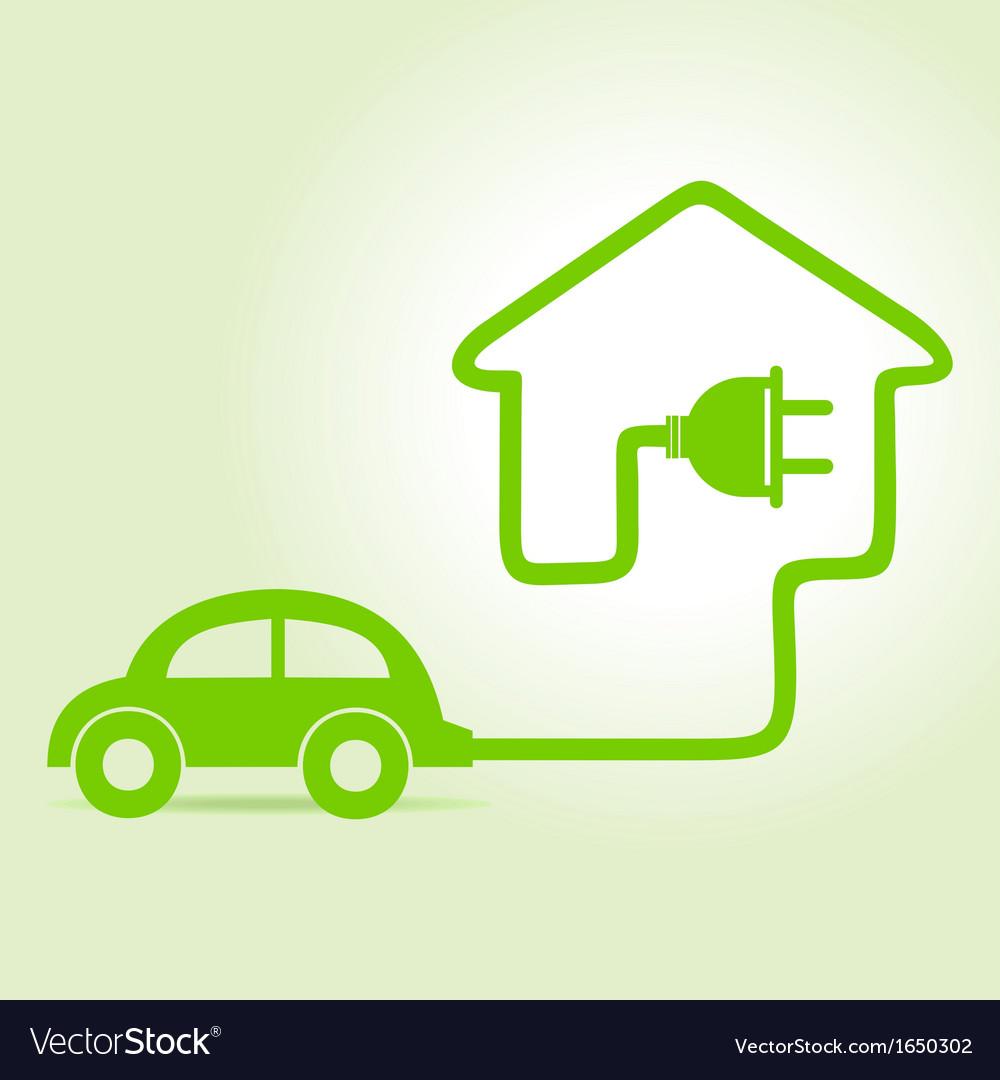 Eco car make a home icon vector | Price: 1 Credit (USD $1)