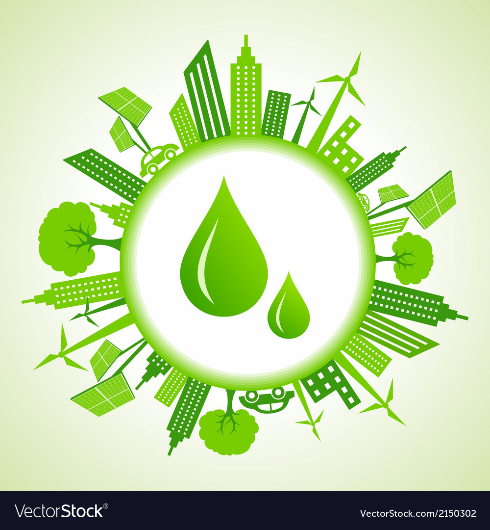 Eco cityscape around water drops vector | Price: 1 Credit (USD $1)