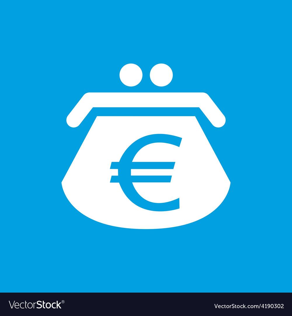 Euro purse white icon vector | Price: 1 Credit (USD $1)