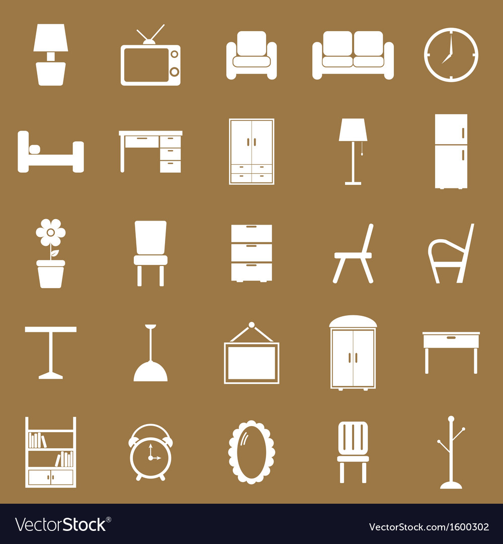 Furniture icons on brown background vector | Price: 1 Credit (USD $1)