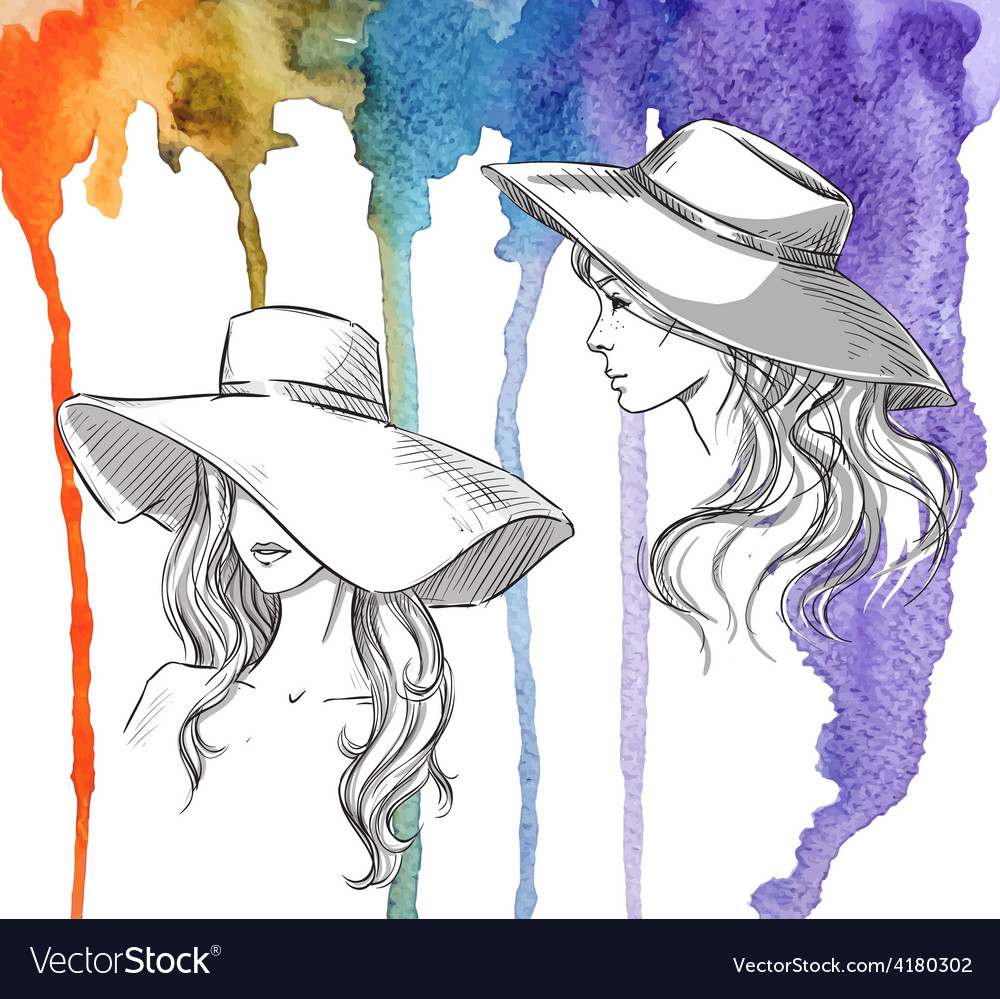 Girls in hats on a watercolor background vector   Price: 1 Credit (USD $1)