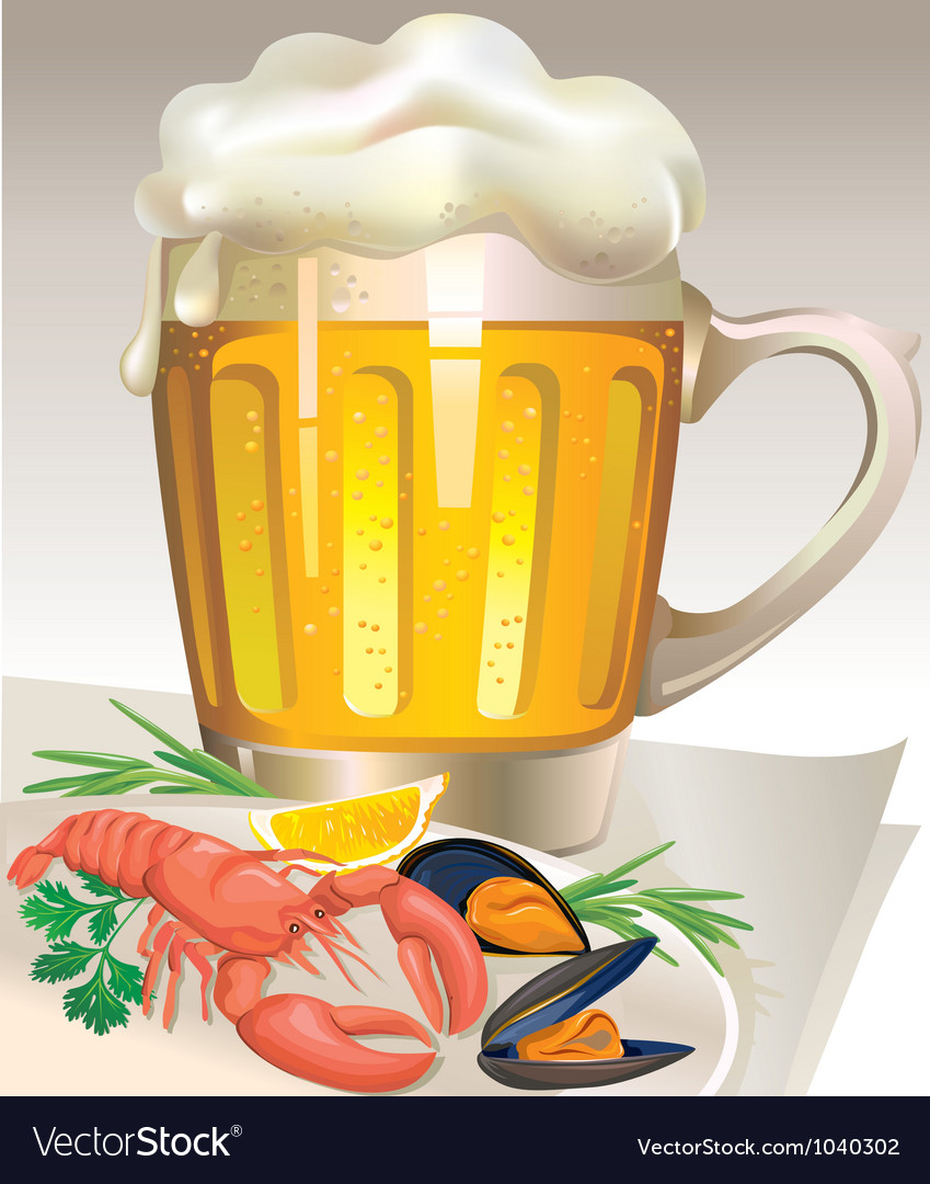 Glass of beer with seafood vector | Price: 3 Credit (USD $3)