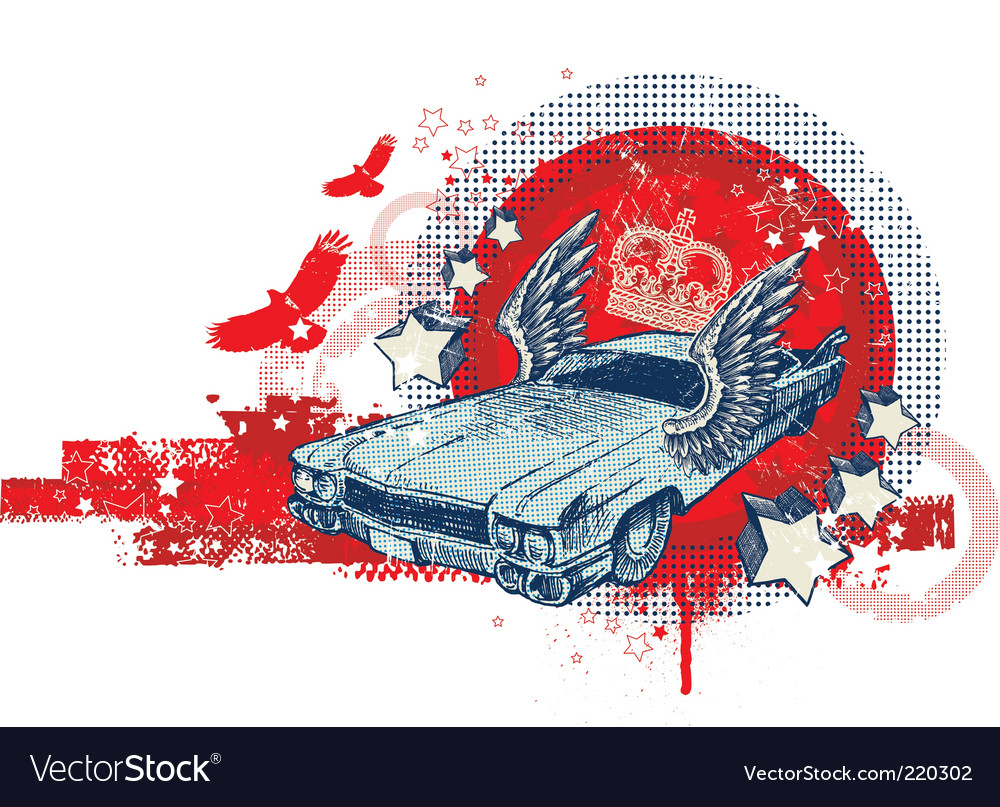 Hand drawn winged retro car vector | Price: 1 Credit (USD $1)