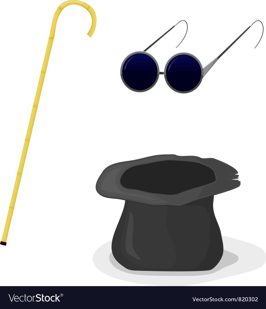 Hat cane and glasses vector | Price: 1 Credit (USD $1)