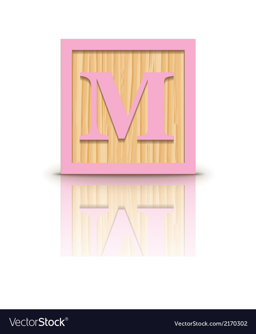 Letter m wooden alphabet block vector | Price: 1 Credit (USD $1)