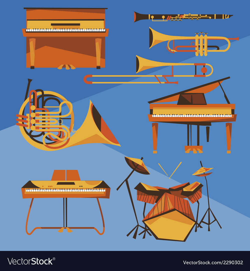 Musical instruments collection vector | Price: 1 Credit (USD $1)