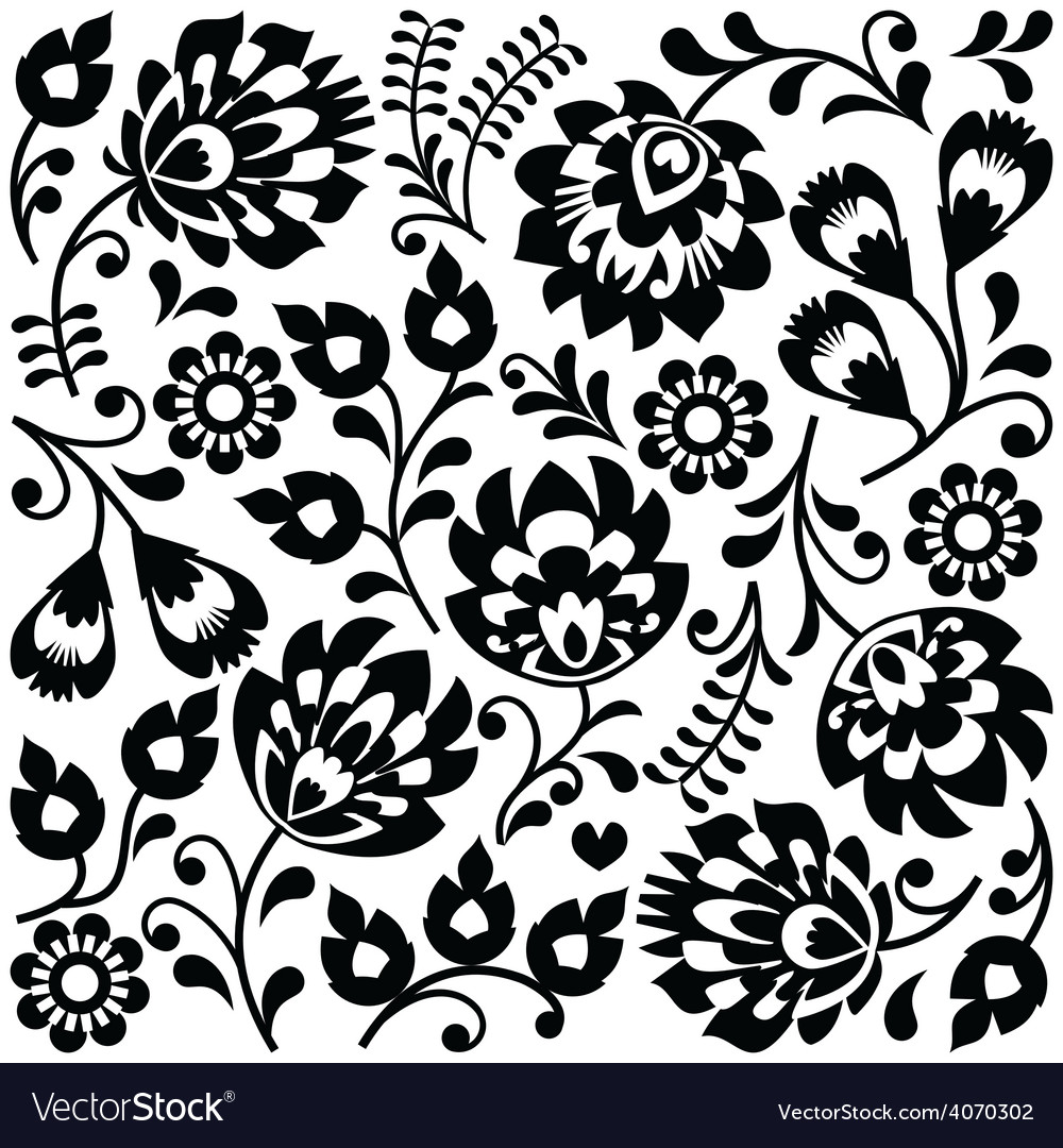 Polish folk art black pattern  wzory lowickie vector