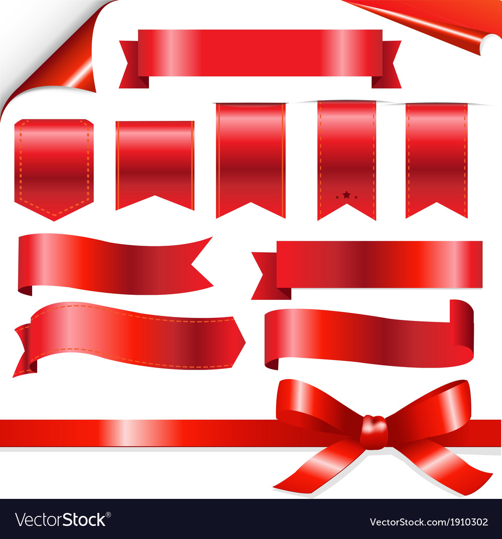 Red ribbons set vector   Price: 1 Credit (USD $1)
