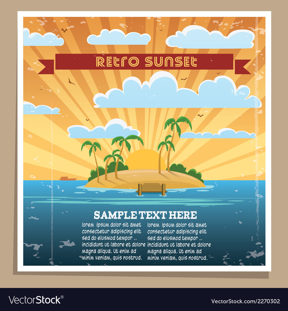 Retro sunset poster vector | Price: 1 Credit (USD $1)