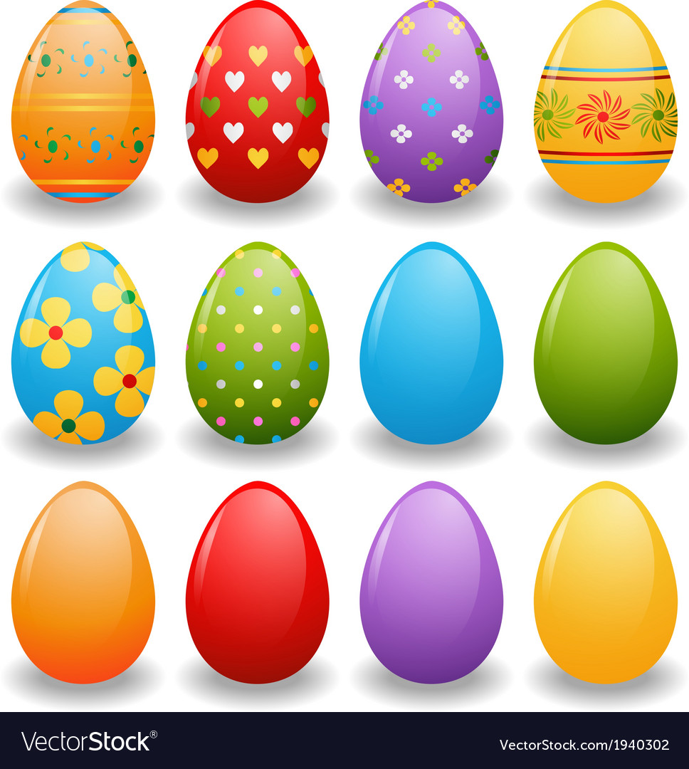 Set of bright eggs vector | Price: 1 Credit (USD $1)