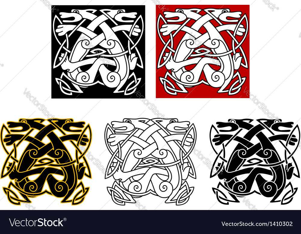 Tribal wolves in celtic style vector