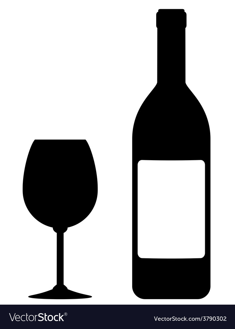 Wine bottle with blank label and glass vector | Price: 1 Credit (USD $1)