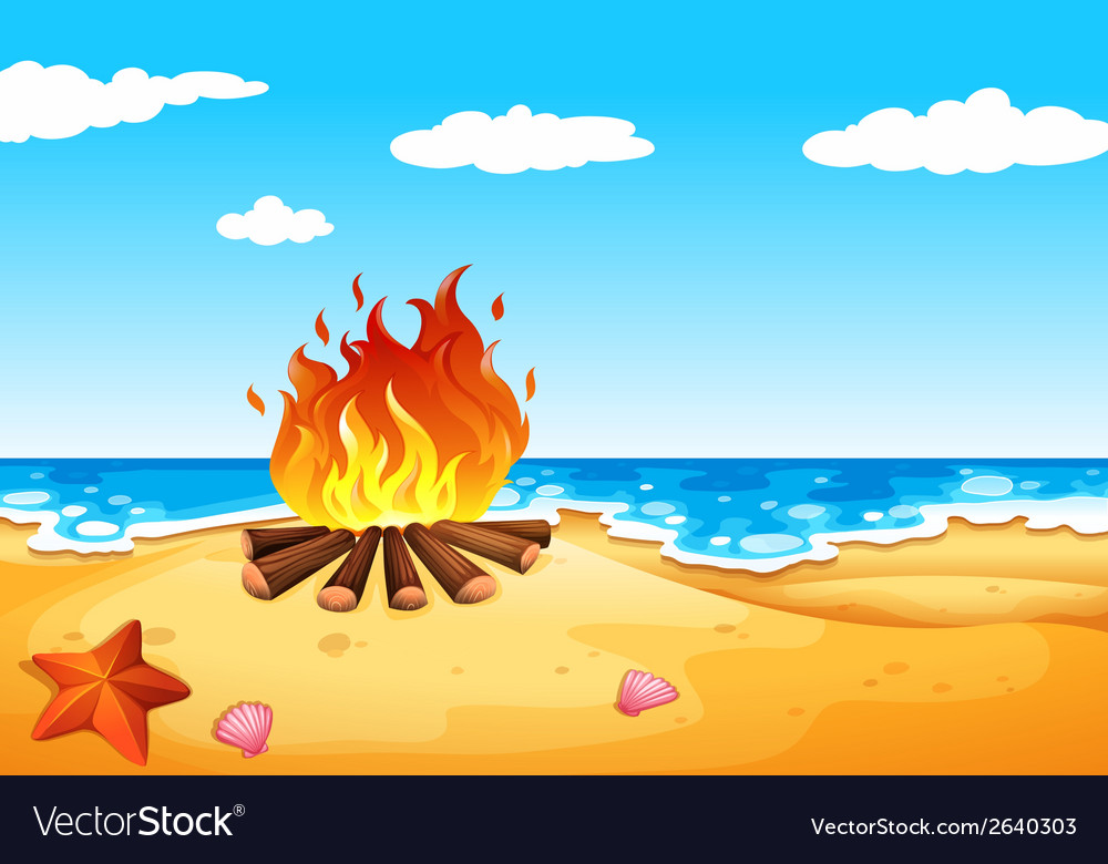 A campfire at the beach vector | Price: 3 Credit (USD $3)