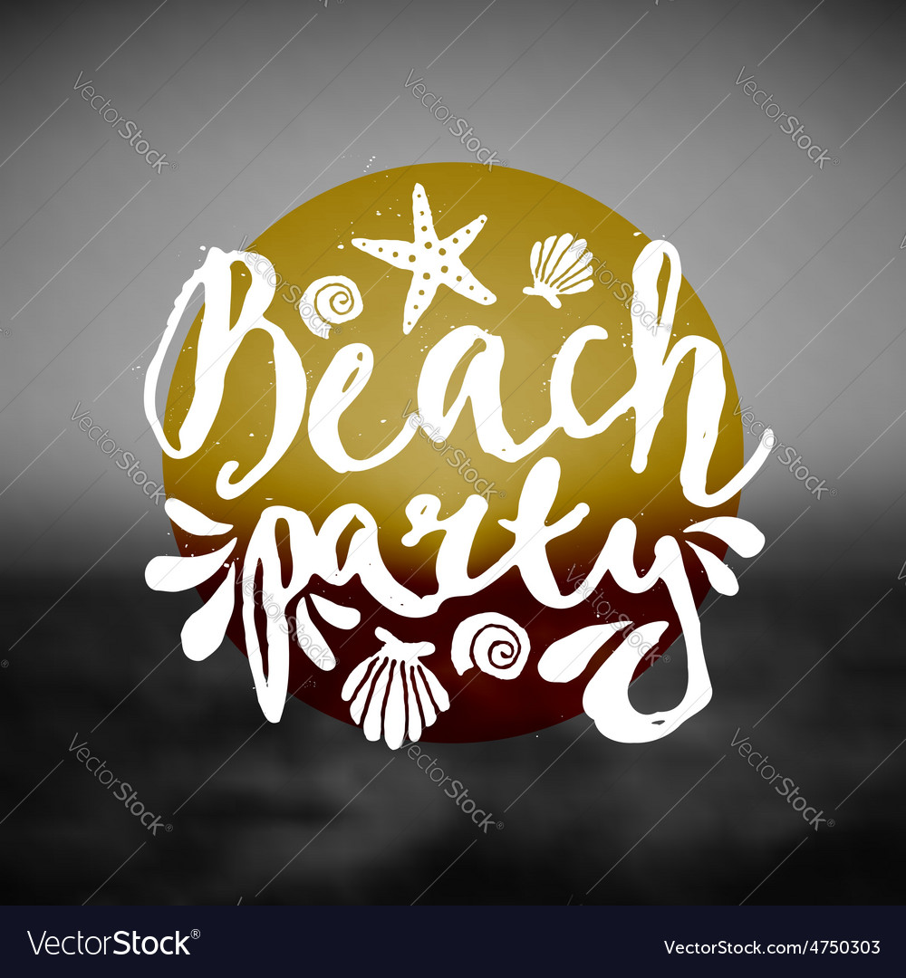 Beach party ocean sunset hand drawn text flyer vector | Price: 1 Credit (USD $1)