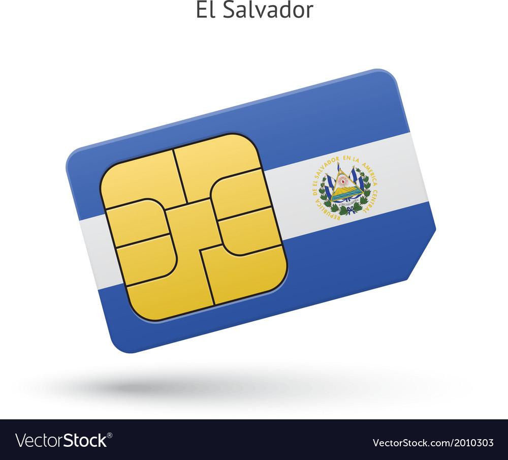 El salvador mobile phone sim card with flag vector | Price: 1 Credit (USD $1)
