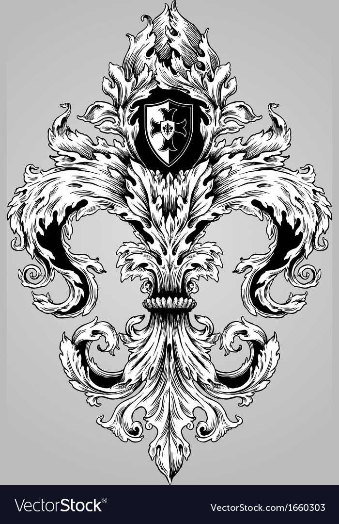 Fancy hand drawn fluer de lys vector | Price: 1 Credit (USD $1)