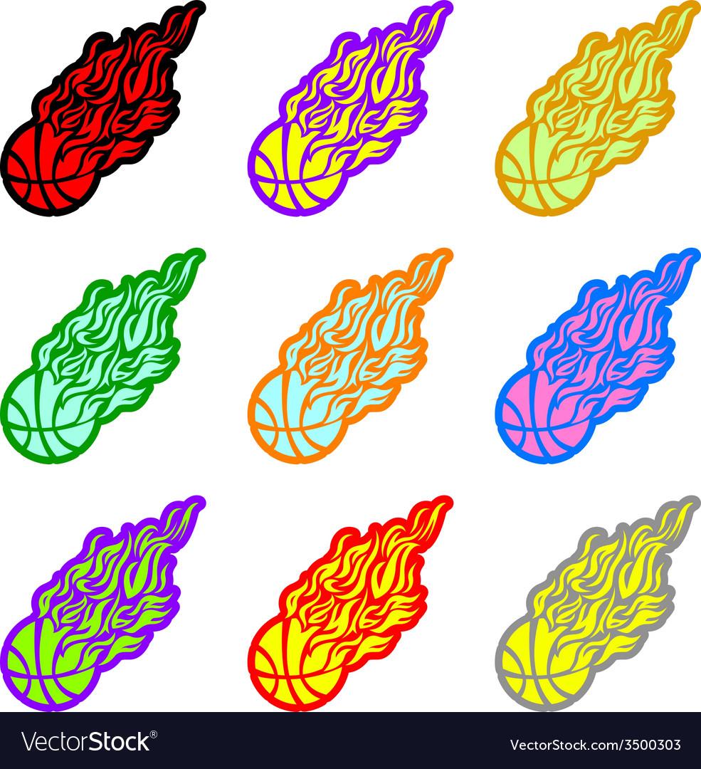 Flame fire ball orange basketball symbol icon vector | Price: 1 Credit (USD $1)