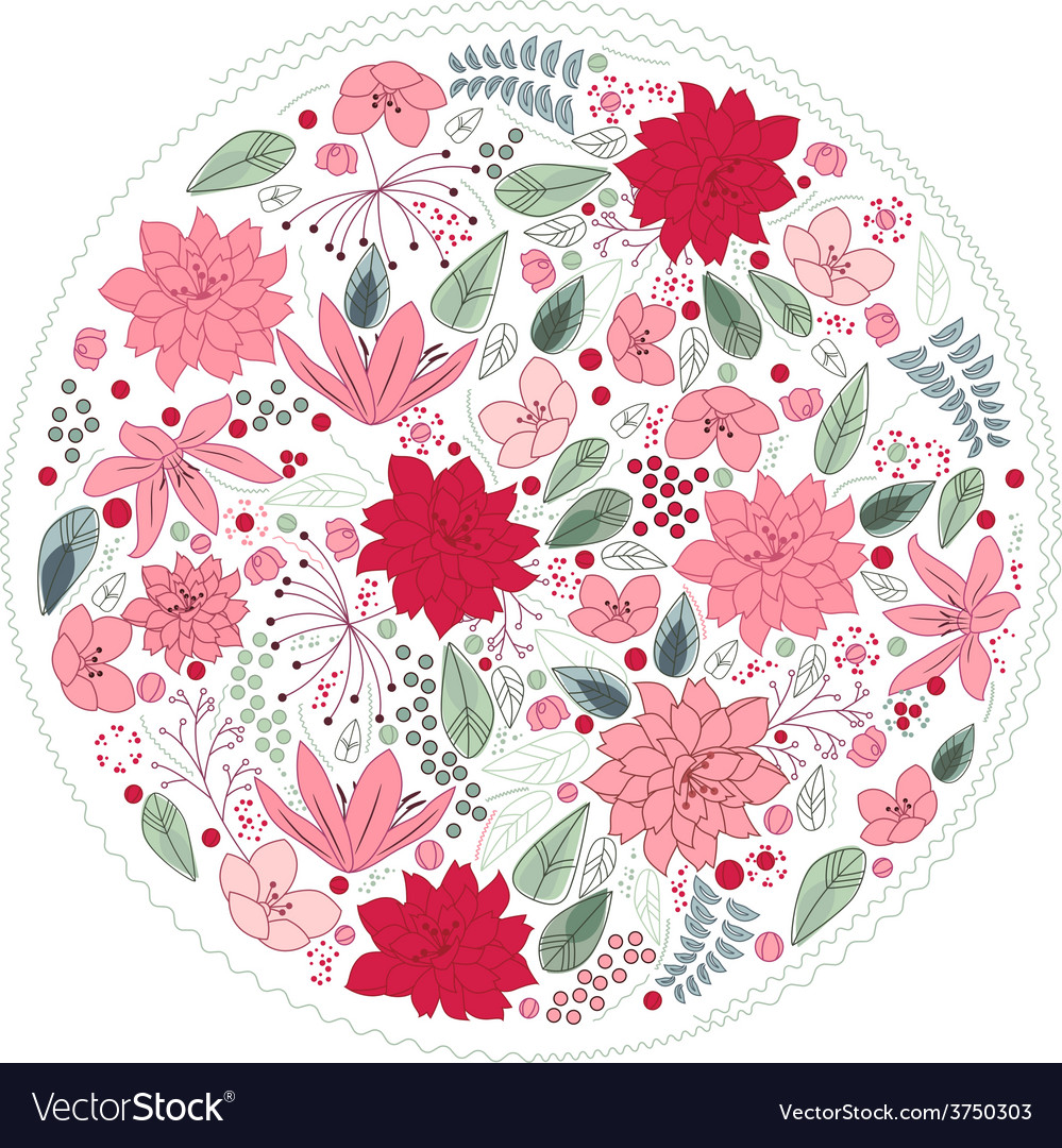 Floral circle made of different flowers vector | Price: 1 Credit (USD $1)