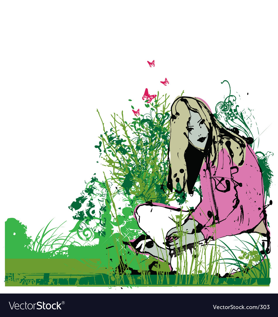 Girl in garden vector | Price: 1 Credit (USD $1)
