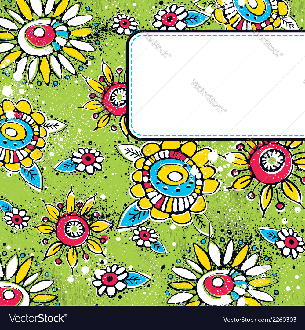 Green grunge background with color flowers vector | Price: 1 Credit (USD $1)