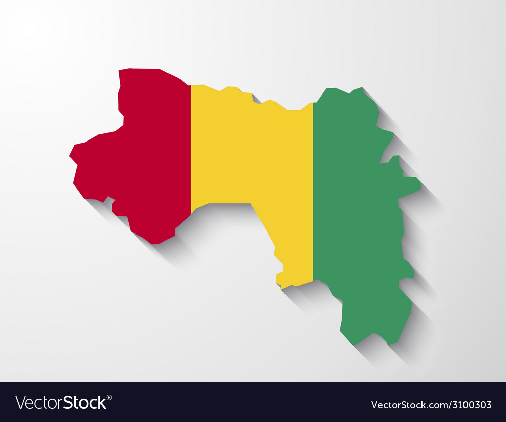 Guinea country map with shadow effect presentatio vector | Price: 1 Credit (USD $1)