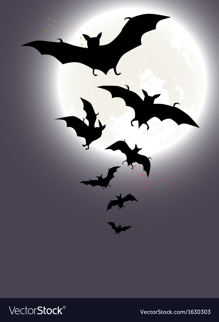 Halloween background with a full moon and bats vector | Price: 1 Credit (USD $1)