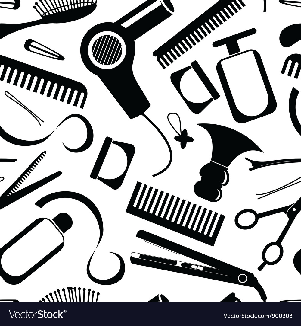 Seamless hairdressing pattern vector | Price: 1 Credit (USD $1)